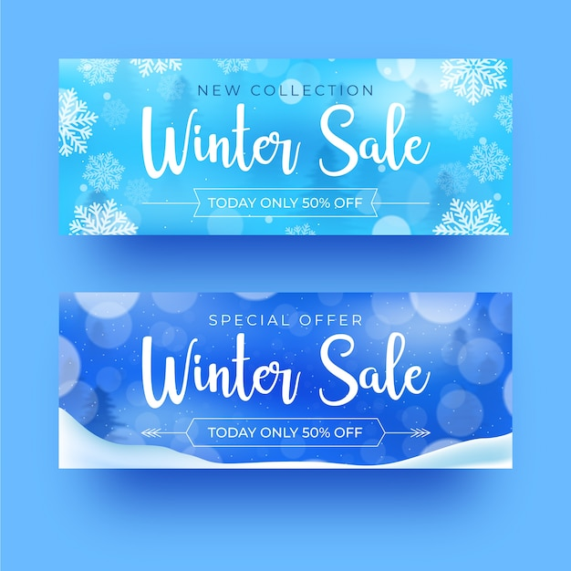 Winter sale realistic banners Free Vector