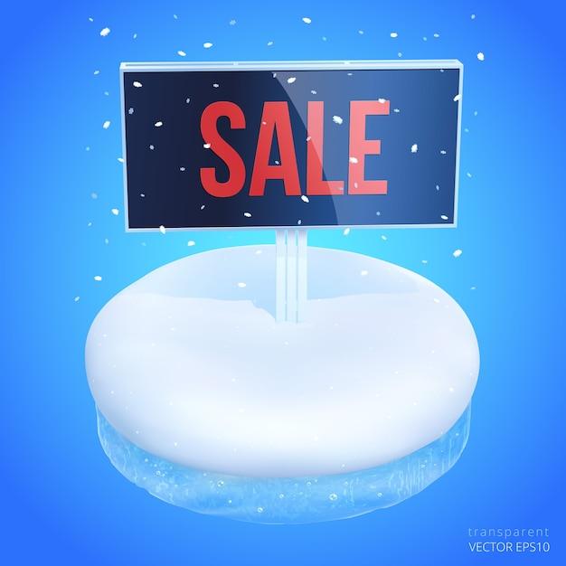 Зимняя распродажа. реалистичный подиум с пустым пространством. Premium векторы
