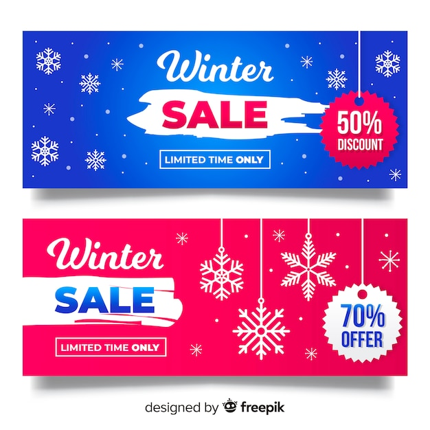 Winter sale snowflakes banner Free Vector