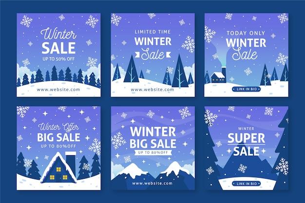 Посты в соцсетях о зимней распродаже Бесплатные векторы