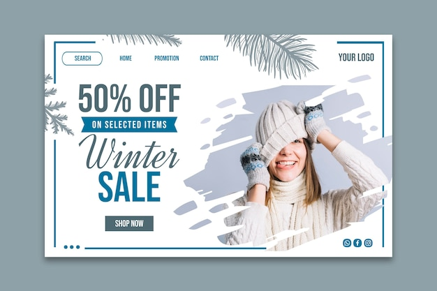 Winter sale template landing page Free Vector