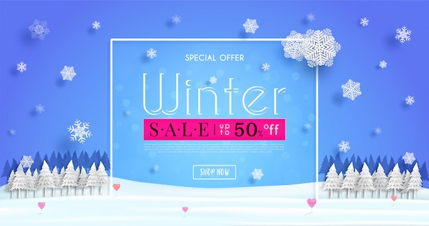 Winter sales banner  with a seasonal cold weather and concept winter advertising illustration or background Premium Vector
