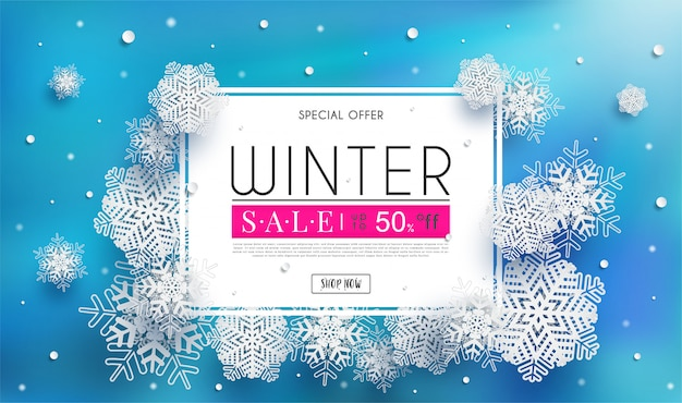 Winter sales banner with a seasonal cold weather  and white snowflakes illustration or background Premium Vector