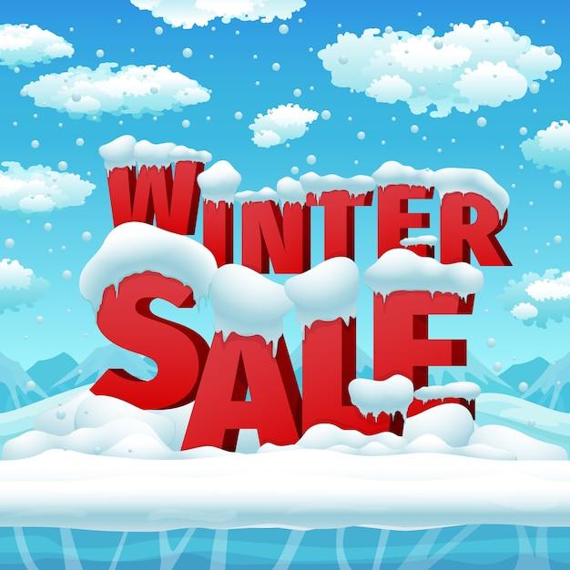 冬の販売ベクトルポスター。割引ポスター、バナーシーズン、セール冬プロモーションイラスト 無料ベクター