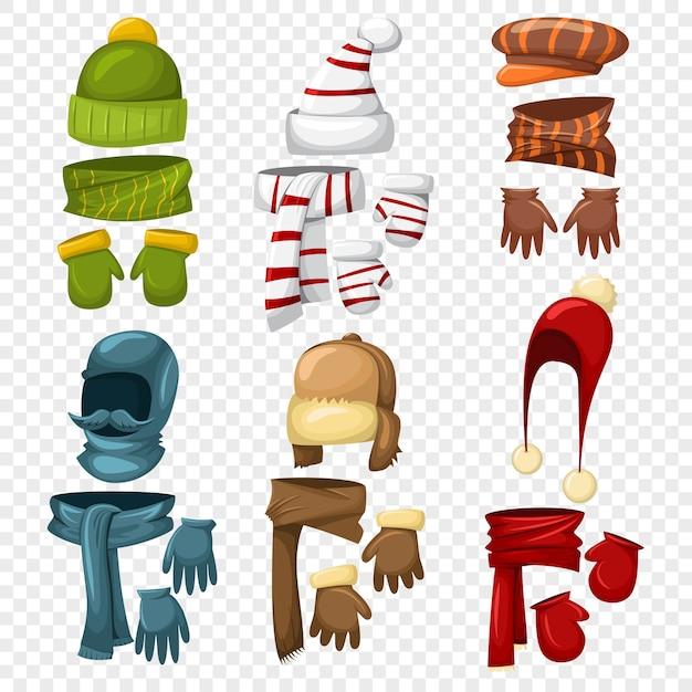 Зимний шарф, шапки и кепки, комплекты перчаток и варежек для мужчин и женщин. Premium векторы