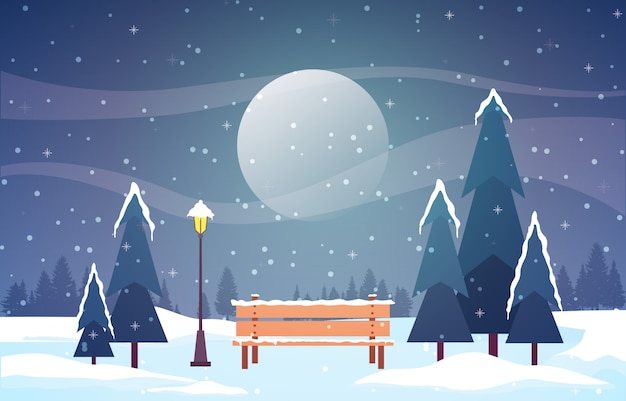 Winter scene snow landscape with pine trees mountain Premium Vector