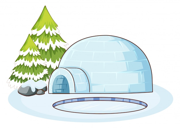 Winter scene with igloo Free Vector