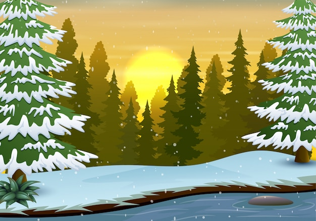 Winter scene with river and forest background Premium Vector