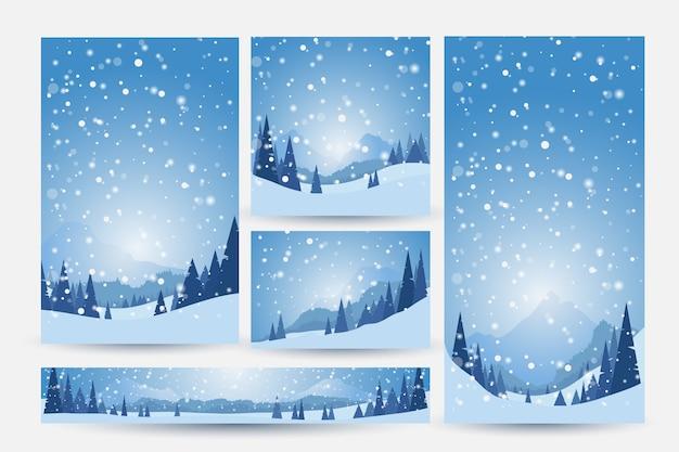 雪、松、山のある冬の風景。冬の背景のセット Premiumベクター
