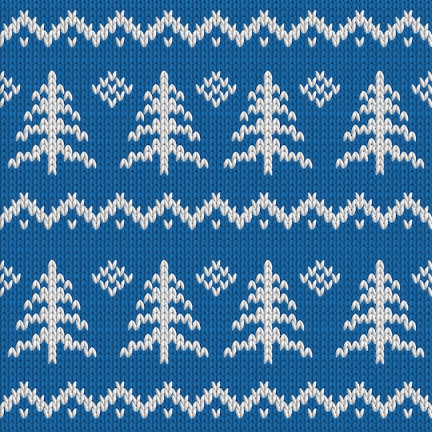 Winter seamless knitted blue pattern with christmas tree Premium Vector