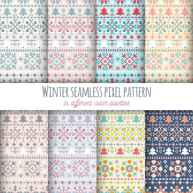 Winter seamless pixel pattern in 8 different color palettes Premium Vector