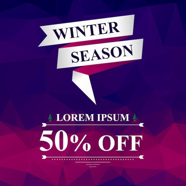 冬のシーズン50%のセールススクエアバナー、リボンと抽象的な紫とピンクの背景とモダンなスタイル、ソーシャルメディアのためのデジタルマーケティングツールのテンプレート Premiumベクター