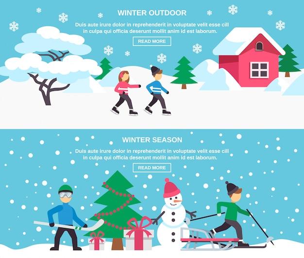 Winter season flat banners set Free Vector