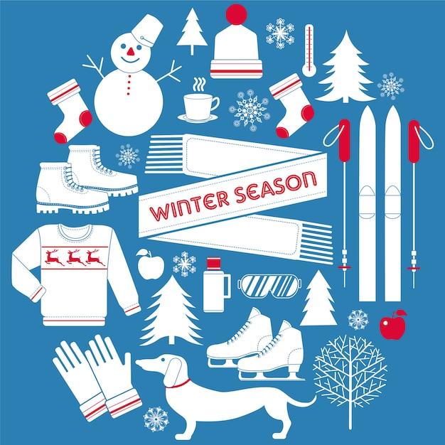 Winter season icons set in retro style Premium Vector