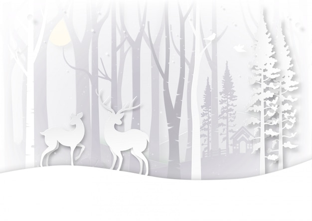 Winter season landscape and christmas day concept. Premium Vector