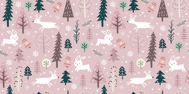 Winter season in seamless pattern for decoration Premium Vector