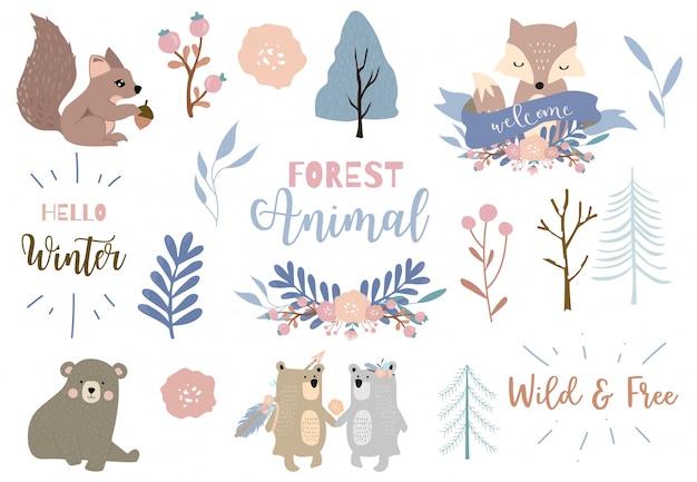 Winter set with bear, fox, squirrel illustration set Premium Vector