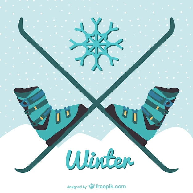 Winter skiing illustration