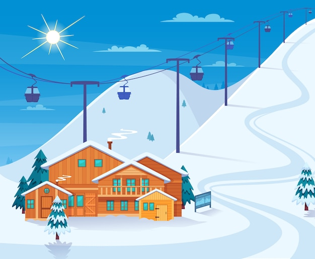 Winter skiing resort illustration Free Vector