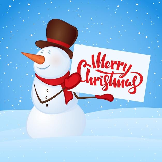 눈 더미 배경에 손에 빈 배너와 함께 겨울 웃는 눈사람. 메리 크리스마스. 프리미엄 벡터