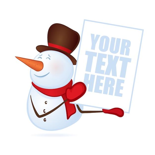 빈 배너 또는 포스터에 고립 된 흰색 배경에 손에 겨울 웃는 눈사람. 메리 크리스마스 프리미엄 벡터