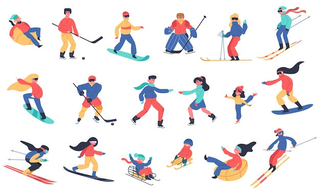 Winter snow activities. skiing, snowboarding, hockey and ice skates, family holiday winter activities   illustration icons set. ice hockey and board, snow extreme sport Premium Vector