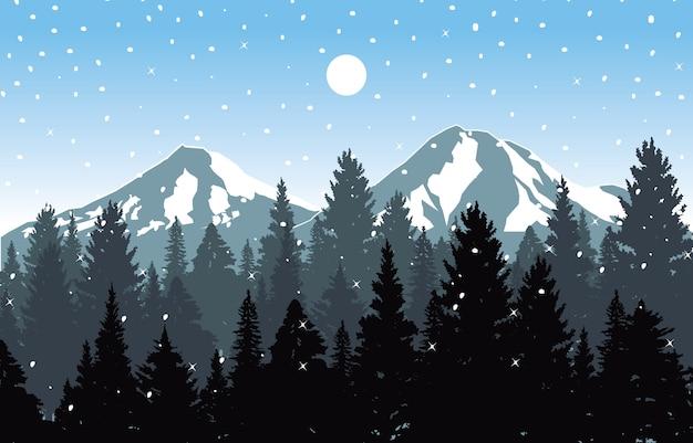 Winter snow background illustration mountain sky landscape Premium Vector