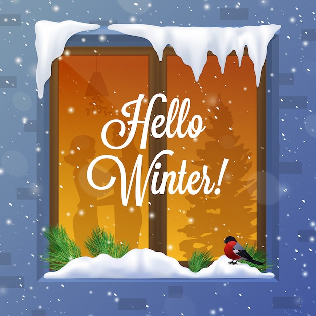 Winter and snow illustration Free Vector