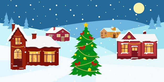 Premium Vector Winter Snow Landscape With Houses And Decorated Christmas Tree