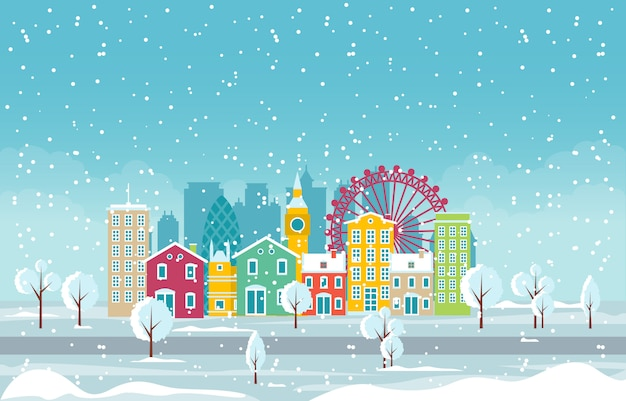 Winter snow in london city cityscape skyline landmark building illustration Premium Vector