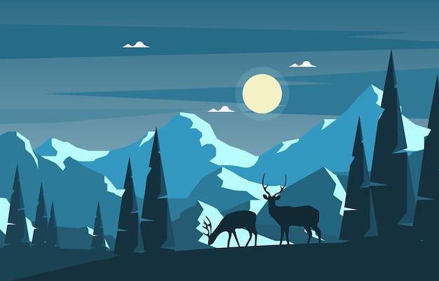 冬の雪松山鹿自然風景イラスト Premiumベクター
