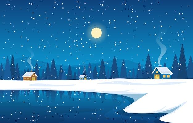 冬の雪松山の家湖の自然の風景イラスト Premiumベクター