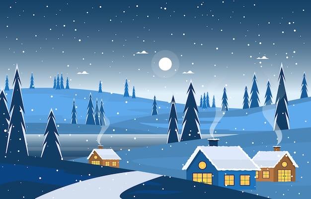 冬のスノーパインマウンテンハウスストリート自然景観イラスト Premiumベクター