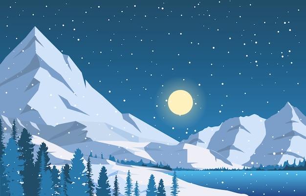 冬の雪松山湖降雪自然風景イラスト Premiumベクター