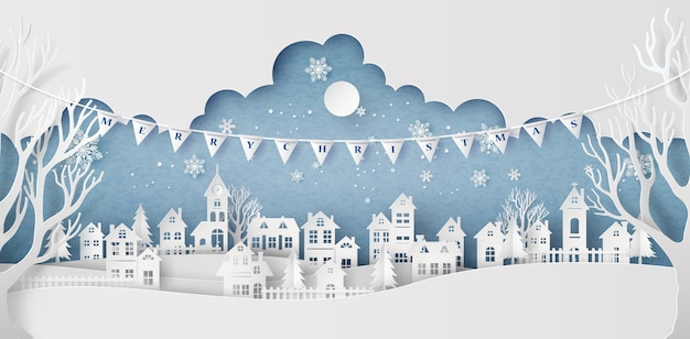 Winter snow urban countryside landscape city village with full moon Premium Vector
