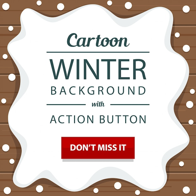 Winter snow wooden with action button banner template Premium Vector