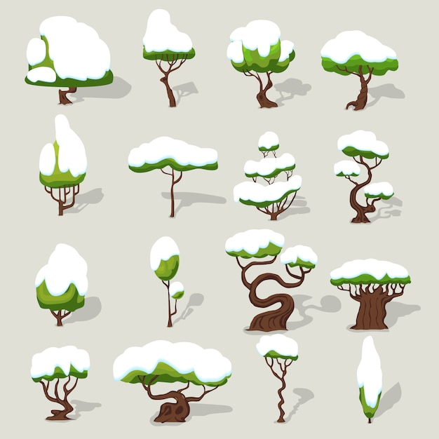 Winter snowbound trees collection Free Vector