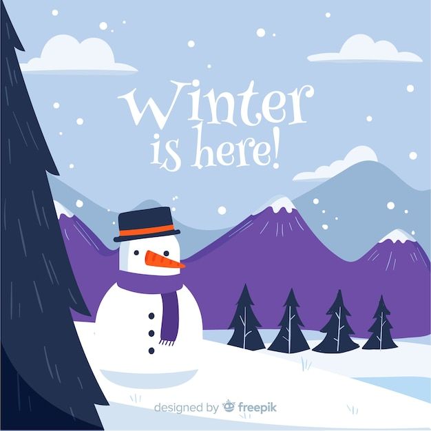 Winter snowman background Free Vector