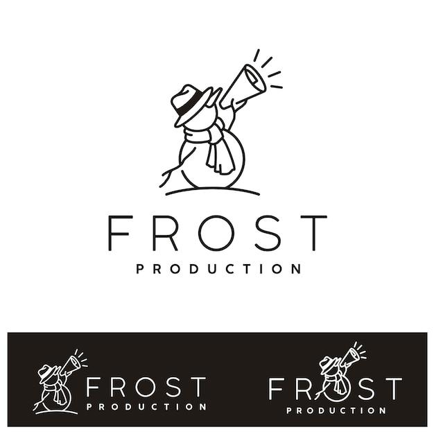 Winter snowman with megaphone. frost snow film cinema production logo Premium Vector