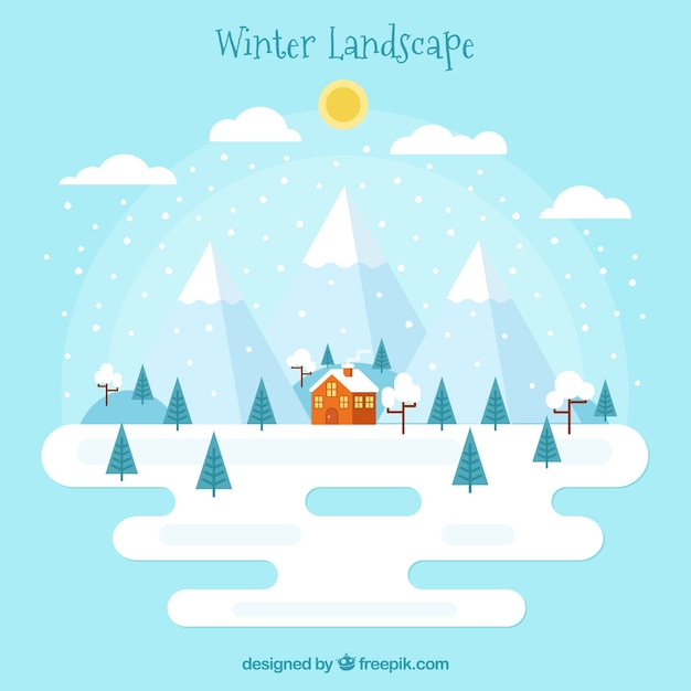 Winter snowy landscape background