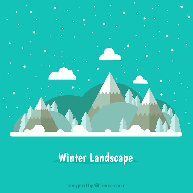 Winter snowy landscape background Free Vector