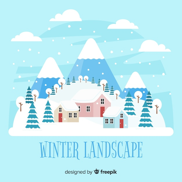 Winter snowy landscape background Free Vector