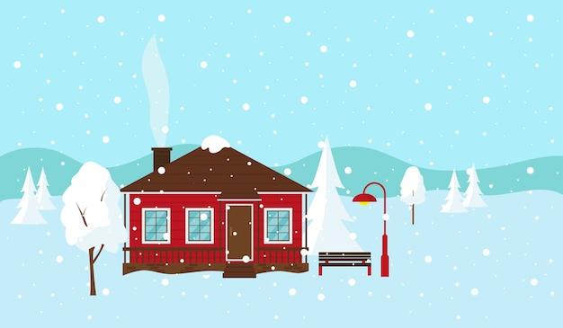 겨울 눈 덮인 풍경. 컨트리 하우스, 벤치 및 랜턴. 삽화. 프리미엄 벡터