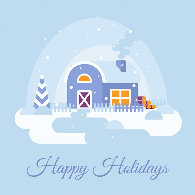 Winter snowy landscape with country house. happy holidays text. Premium Vector