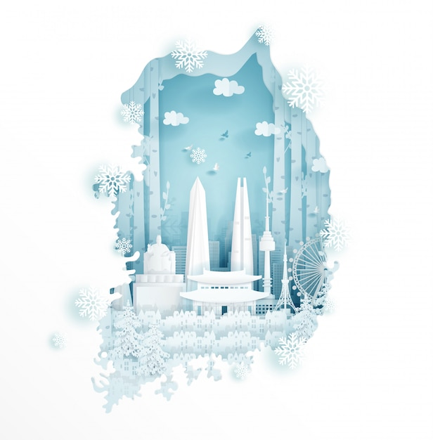 Winter in south korea for travel and tour advertising concept Premium Vector