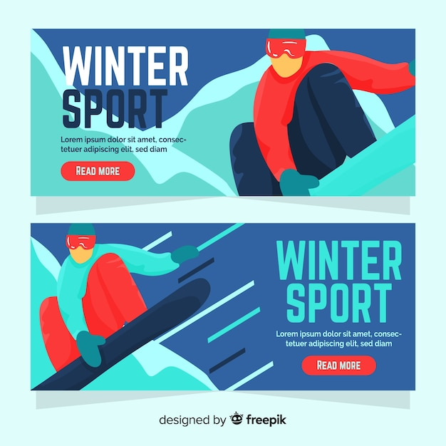 Winter sport banner person practicing snowboard Free Vector