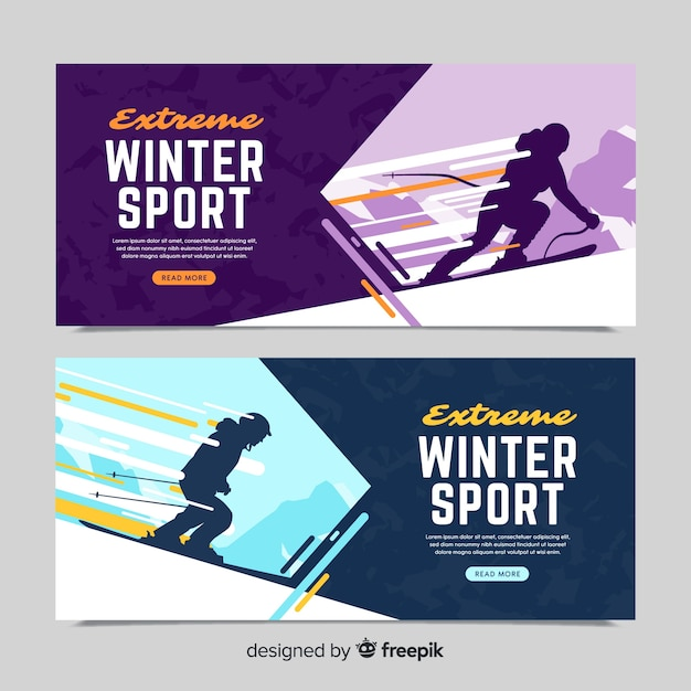 winter sport banner template vector free download