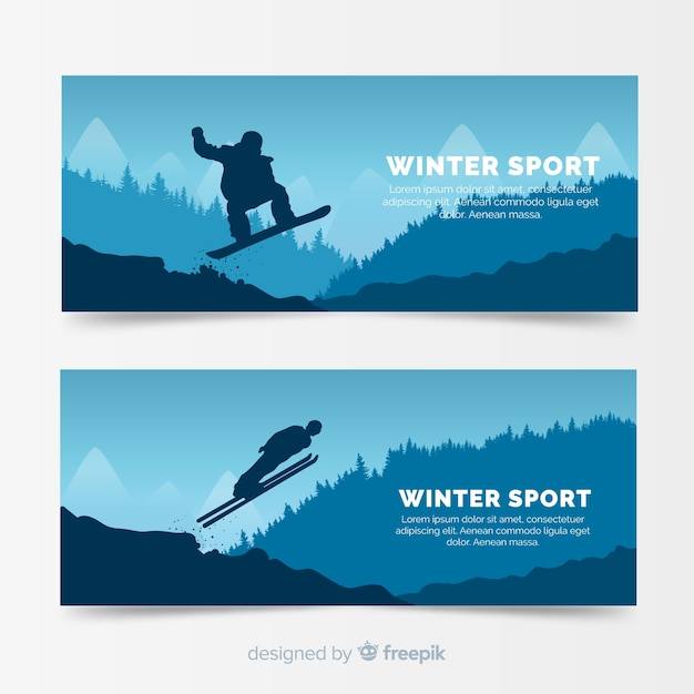 Winter sport banner template Free Vector