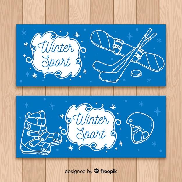 Winter sport banner Free Vector