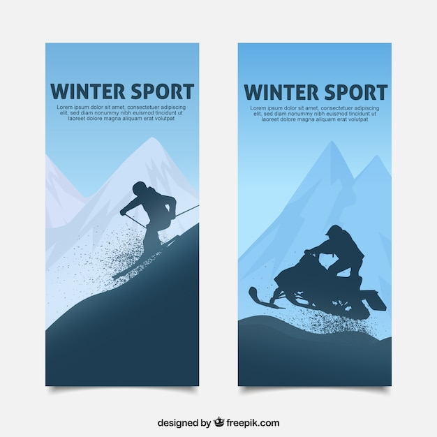 Winter sport banners in blue tones